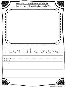 How Full Is Your Bucket? - reading response for beginning writers {FREEBIE}