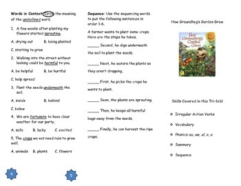 How Groundhog's Garden Grew Comprehension Tri-fold: Journeys Grade 2; Lesson 21