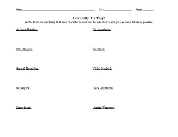 How Guilty Are They? An And Then There Were None Debate Activity