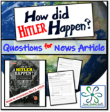 How Hitler Happened?: World War II Worksheet for great Jr. Scholastic article