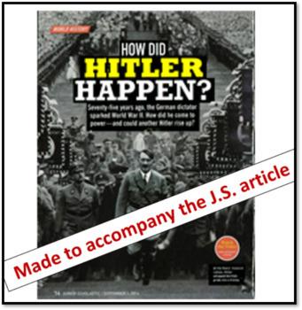 How Hitler Happened?: World War II Worksheet for great Jr. Scholastic article