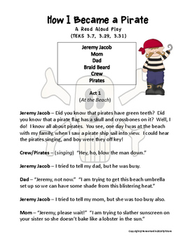 How I Became a Pirate Read Aloud Play with Assessment and Texas TEKS included