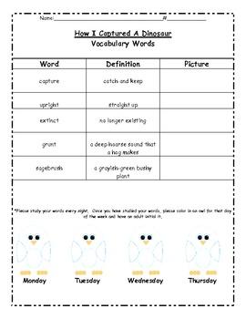 How I Captured A Dinosaur Spelling/Vocabulary/Assessment