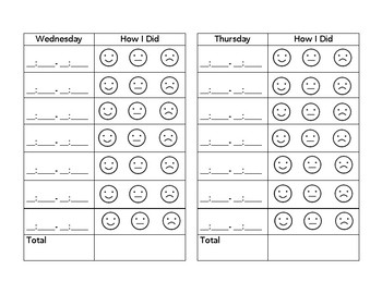 How I Did Today Self-Monitoring Sheet