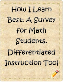 How I Learn Best: A Math Survey for Students. Differentiated Instruction Tool