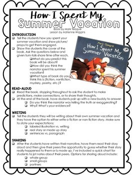 how i spent my summer vacation activity w lesson plan by  how i spent my summer vacation activity w lesson plan