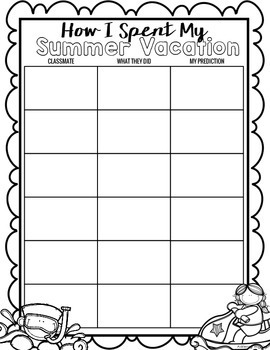 How I Spent My Summer Vacation Activity w/ Lesson Plan FREE
