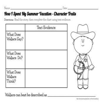 How I Spent My Summer Vacation Literacy Comprehension Story Guide & Assessment
