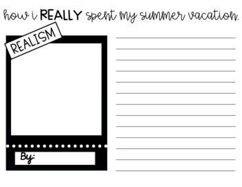How I Spent My Summer Vacation Writing Activity