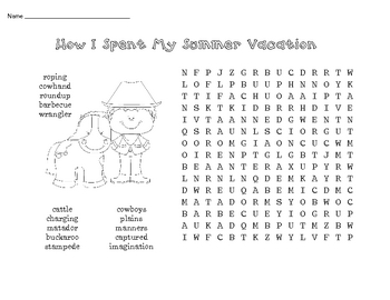How I Spent My Summer Vacation - word work