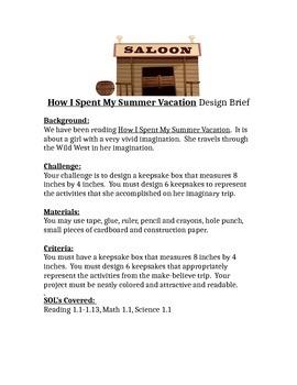 How I Spent My Summer Vacations STEM Children's Engineering Design Brief