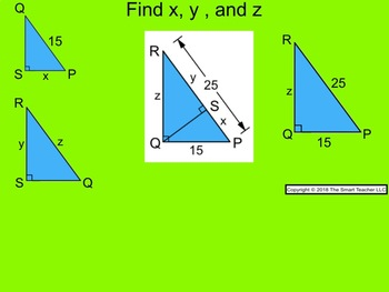How I Teach Similar Right Triangles with Geometric Mean Using the Smartboard