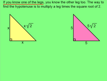 How I Teach Special Right Triangles (45, 45, 90)
