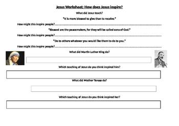 How Jesus Inspires Activity Sheet