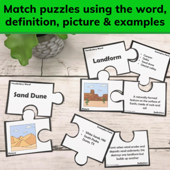 Weathering Erosion and Deposition Create Landforms | Vocabulary Puzzles