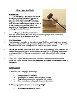 How Laws are Made - Informational Text Test Prep