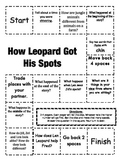"""""""How Leopard Got His Spots"""" Comprehension Game Board- Journeys story 1st grade"""
