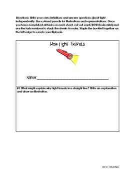 How Light Travels Flipbook & Vocabulary