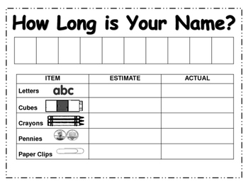 how long is your name first grade measurement worksheet by elemeno. Black Bedroom Furniture Sets. Home Design Ideas