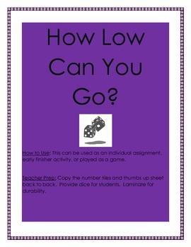 Math Game: How Low Can You Go? Addition Facts Practice