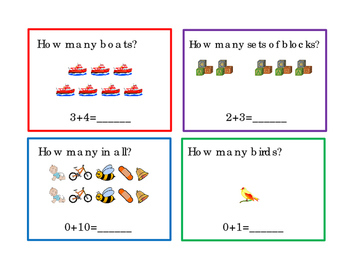 How Many Addition 12 Task Cards Numbers Up to 10 Kindergarten 3pages
