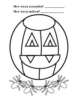 How Many Addition Color Pumpkin Spider Halloween Autumn Math Center Printable 1p