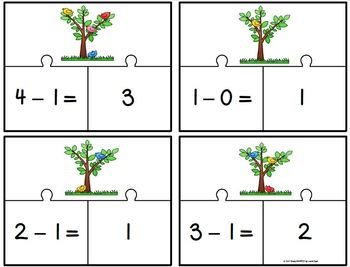 How Many Birds In A Tree?:  LOW PREP Spring Themed Subtraction Puzzles