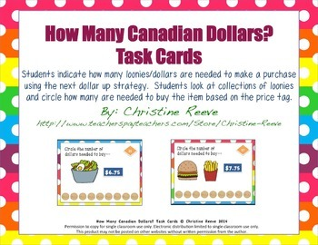 How Many CANADIAN Dollars? Money [Next Dollar] Task Cards [Special Education]