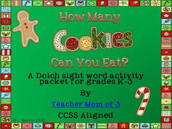 Christmas Dolch Sight Word Game and Writing for K-3