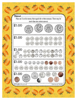 How Many Coins?  Mark the Coins that Equal One Dollar ~ One Work Sheet ~