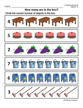 How Many? Counting Groups of Objects (Long A Words) Activity Sheets