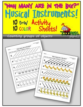 How Many? Counting Groups of Objects (Musical Instruments) Activity Sheets