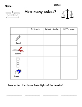 How Many Cubes? Estimate, Weigh and Find the Difference.