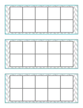 How Many Days in School Ten Frames: Gray & Teal