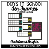 How Many Days in School Ten Frames: Chalkboard Brights