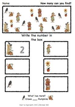 How Many Fall Festivities: Common Core Kindergarten Math Center