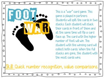 Math stations: How Many Feet? Mental Math Card Games
