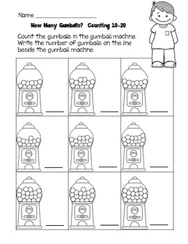 How Many Gumballs?  Counting 0-20 Task Cards & Practice Worksheets SCOOT