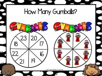 How Many Gumballs?:  NO PREP Counting Spin Game (1-30)