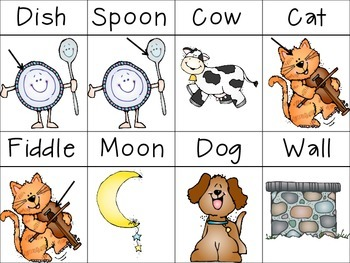 Nursery Rhyme Vocab Cards, Sequencing, and Go-Togethers