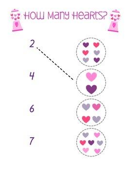 How Many Hearts Preschool Worksheet