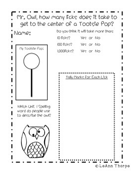 How Many Licks to the Center of a Tootsie Pop?  Owls Mini Unit