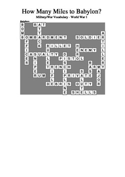 How Many Miles to Babylon? - War Words Crossword Puzzle