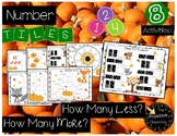 How  Many More? How Many Less? Number Tiles - Fall Animal Theme