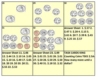 Counting Coins Until A Dollar Coin Task Cards