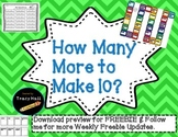 How Many More to Get 10-Race to 10 Math Games With 10 Frames- Freebie in Preview