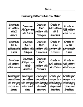 How Many Patterns Can You Make?