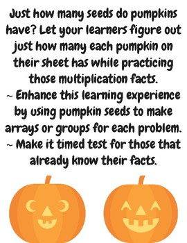 How Many Pumpkin Seeds Multiplication Practice Set Fall/Halloween