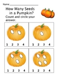 How Many Seeds in a Pumpkin? Pre-K, Kindergarten Counting Math Worksheets