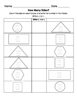 How Many Sides?  Comparing 2D Shapes with Greater/Less Than